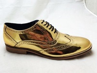 Gold Brogue Shoes for men/women Full leather