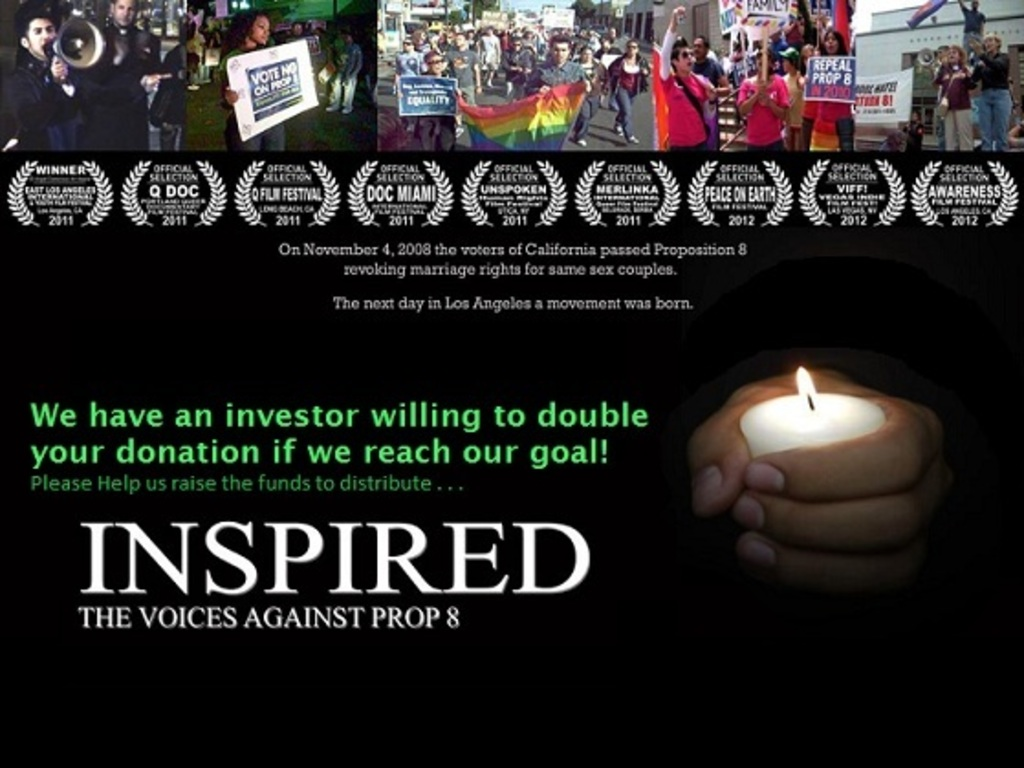 Distribution funds for INSPIRED: THE VOICES AGAINST PROP 8's video poster