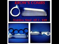 Krow's Combs--Stainless Steel Pocket Combs