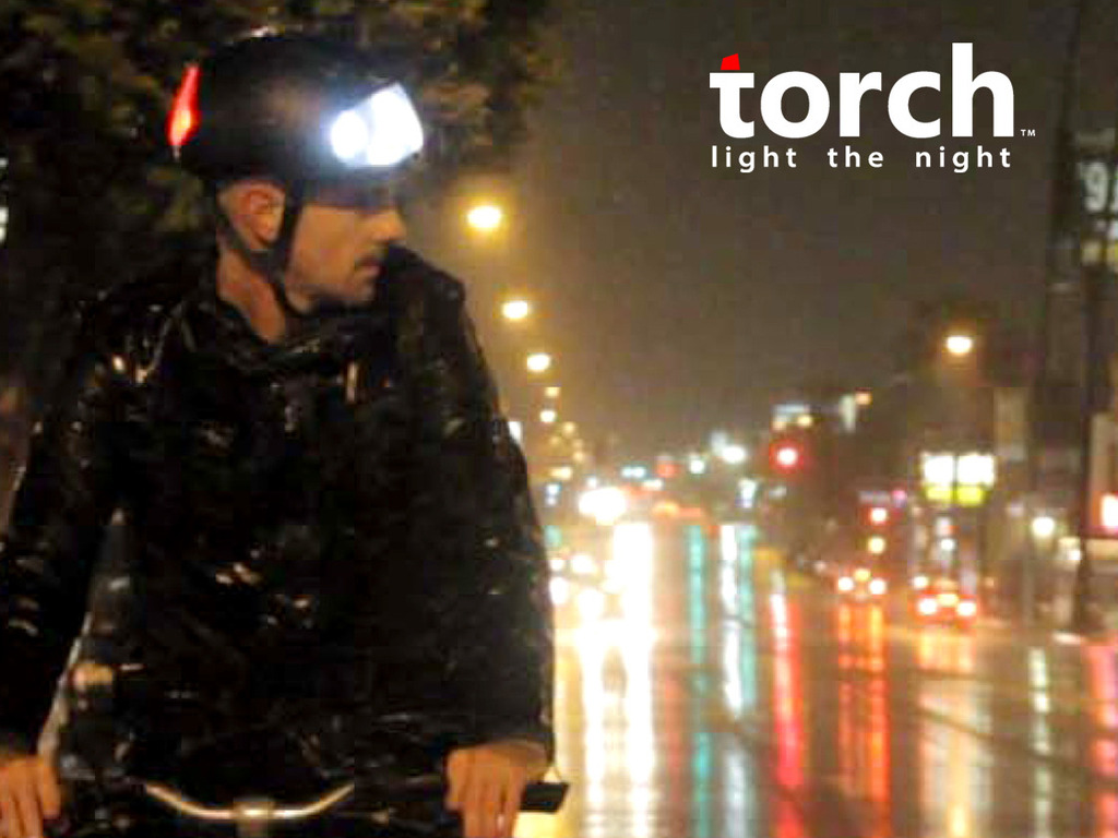 Torch-bicycle helmet with integrated lights's video poster
