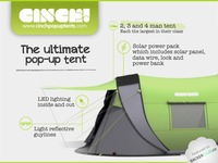 Meet Cinch!– The ultimate pop-up tent with solar power & LED