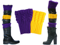 Women's Purple and Yellow Gold Knit Boot Cuffs