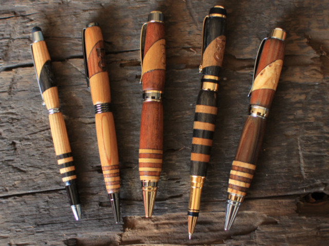 Handcrafted reclaimed wood pens by chad schumacher for Markers for wood crafts