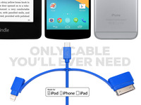 Universal Charging Cable : Lightning, MicroUSB, 30-pin