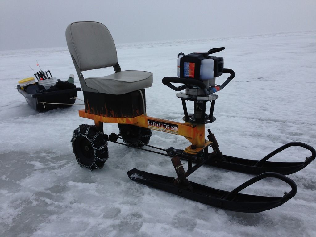 Ice auger go kart machine for ice fishing hauling for Ice fishing tools