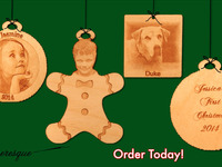Custom Christmas Wooden Photo Ornaments - Your Image & Text