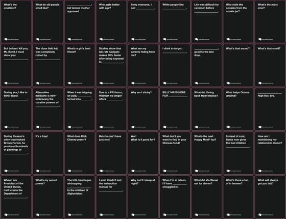 Witty image with cards against humanity printable