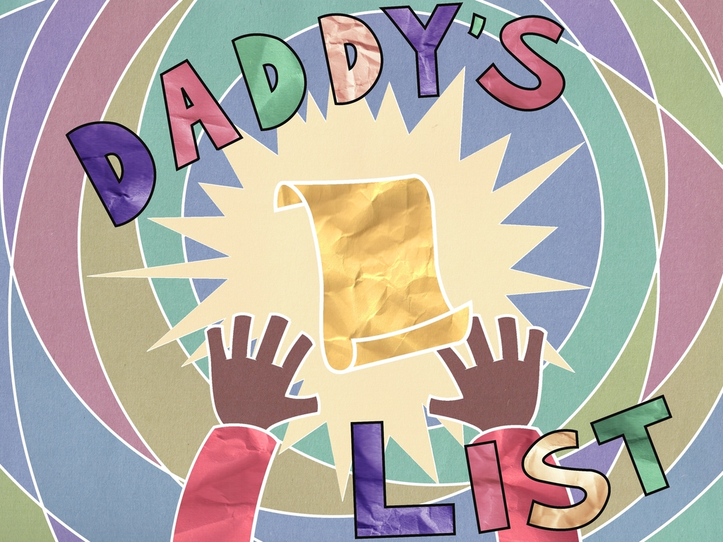"""""""Daddy's List"""" A book celebrating DADS and SONS's video poster"""