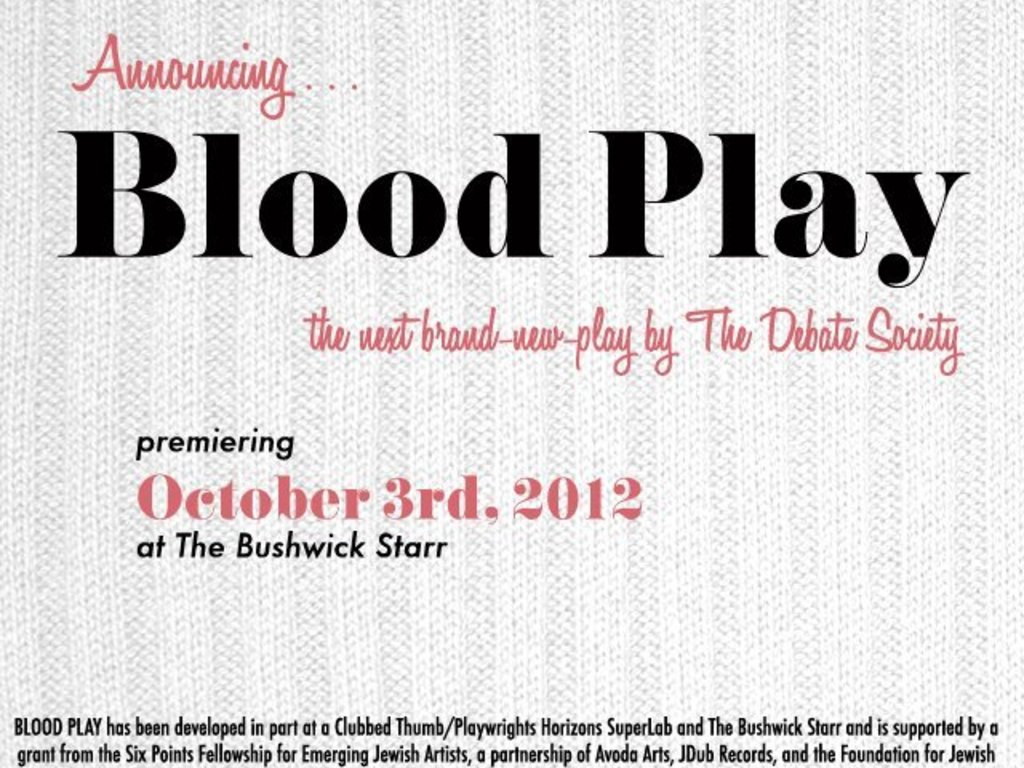 BLOOD PLAY, the next brand-new play by The Debate Society's video poster
