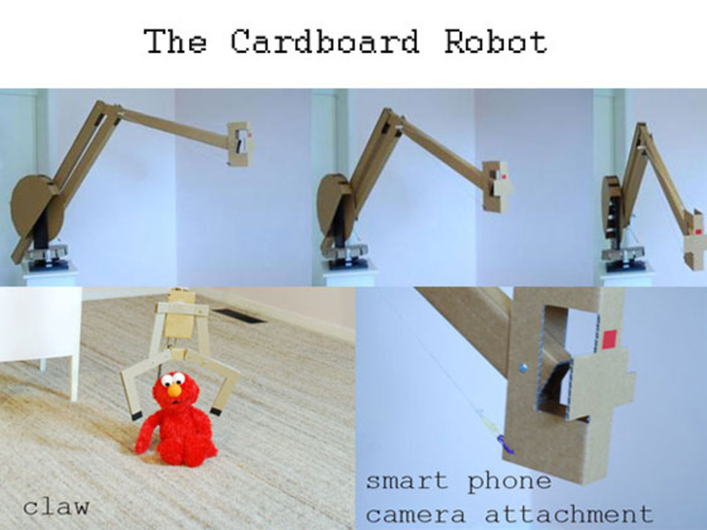 Cardboard Robot: open smart phone camera crane & robotic arm's video poster