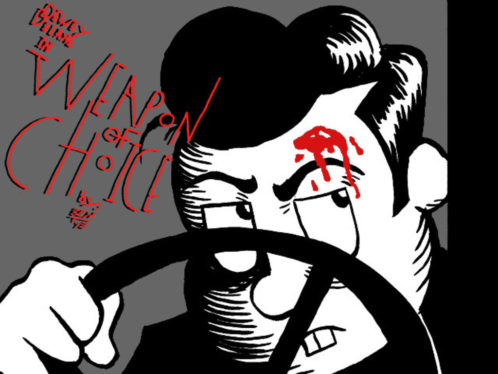 """""""Dewey Delane in Weapon of Choice"""" a Comedy Noir Comic's video poster"""