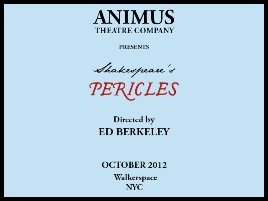 PERICLES, PRINCE OF TYRE! ANIMUS does SHAKESPEARE.'s video poster