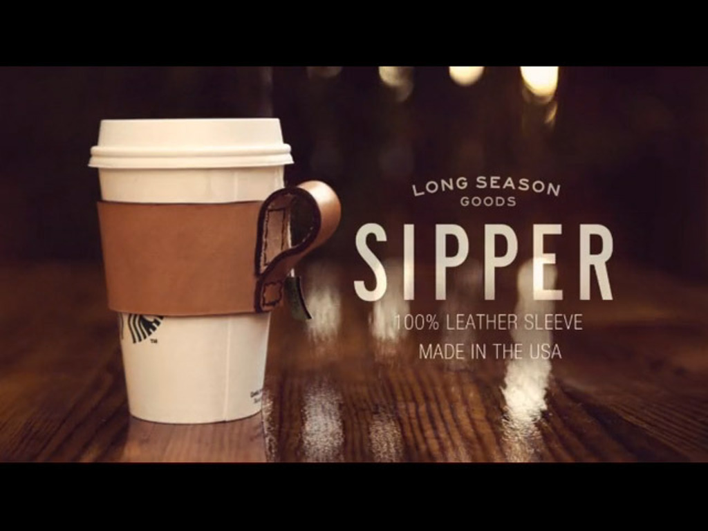 """Leather """"Sipper"""" coffee cup sleeve's video poster"""