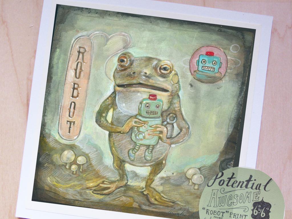 Jennifer Lewis Illustration Limited Edition Frog Robot Print's video poster