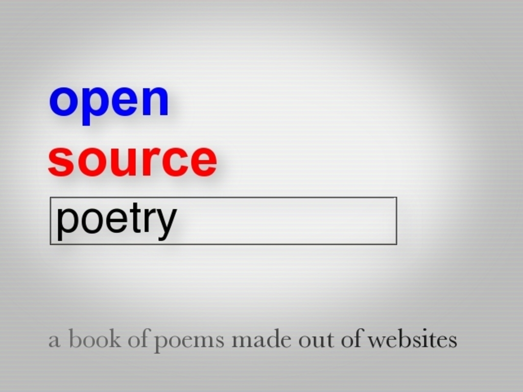 Open Source Poetry ~ A book of poems made out of websites's video poster