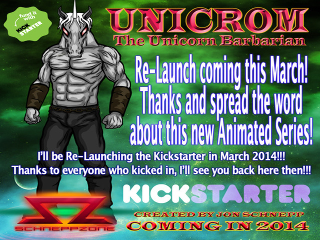 Unicrom, the Unicorn Barbarian! ReLaunch in March 2014's video poster