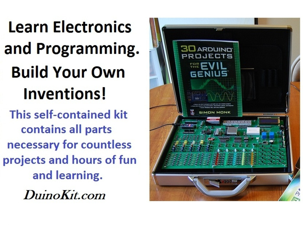 DuinoKit - An  Electronics and Robotics Arduino Learning Kit's video poster