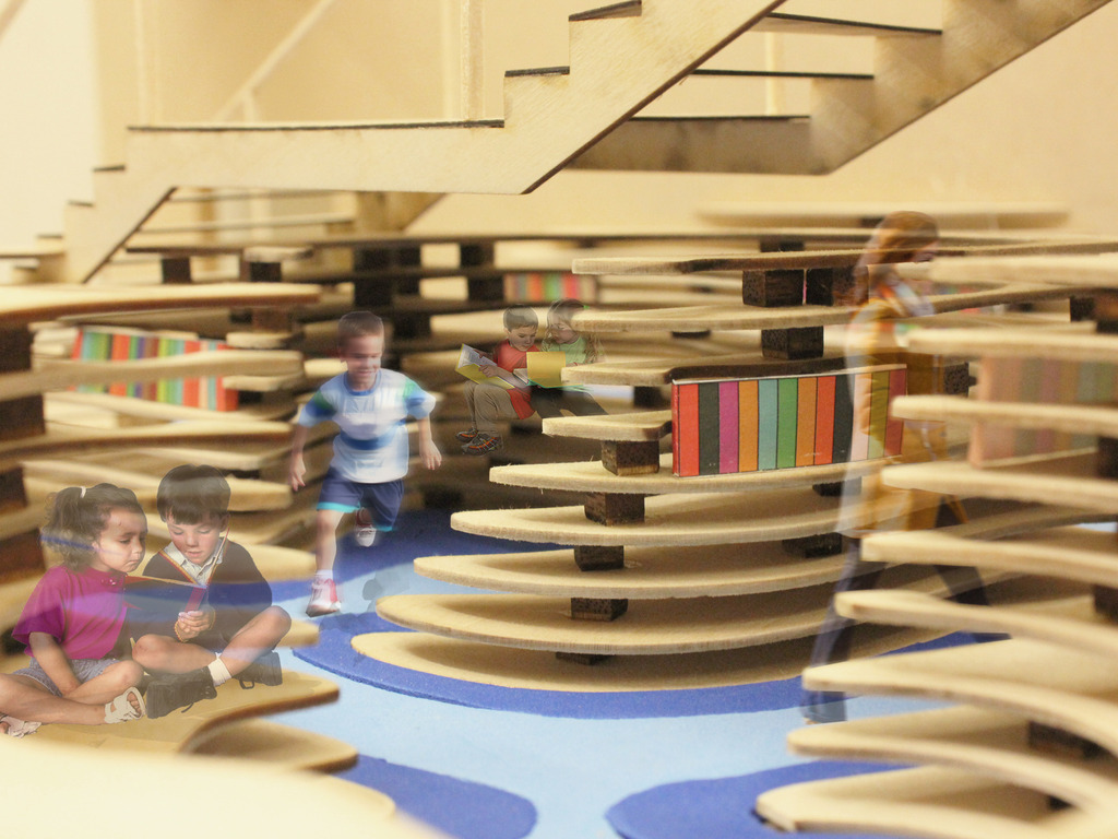 A kid-sized library for a children's museum's video poster