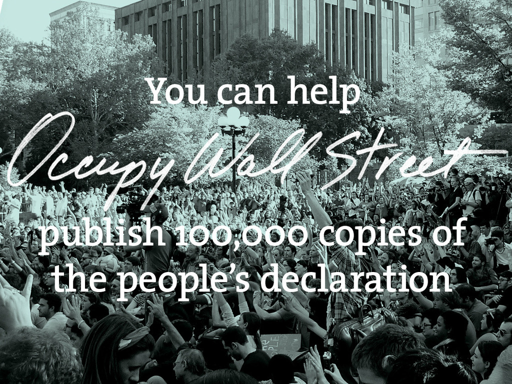 Help Publish the Declaration of Occupy Wall Street's video poster