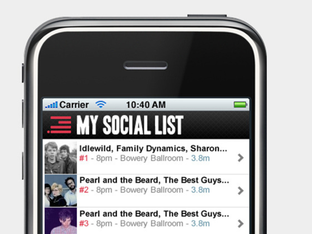 My Social List Mobile - Free NYC Concert Listings for iPhone's video poster