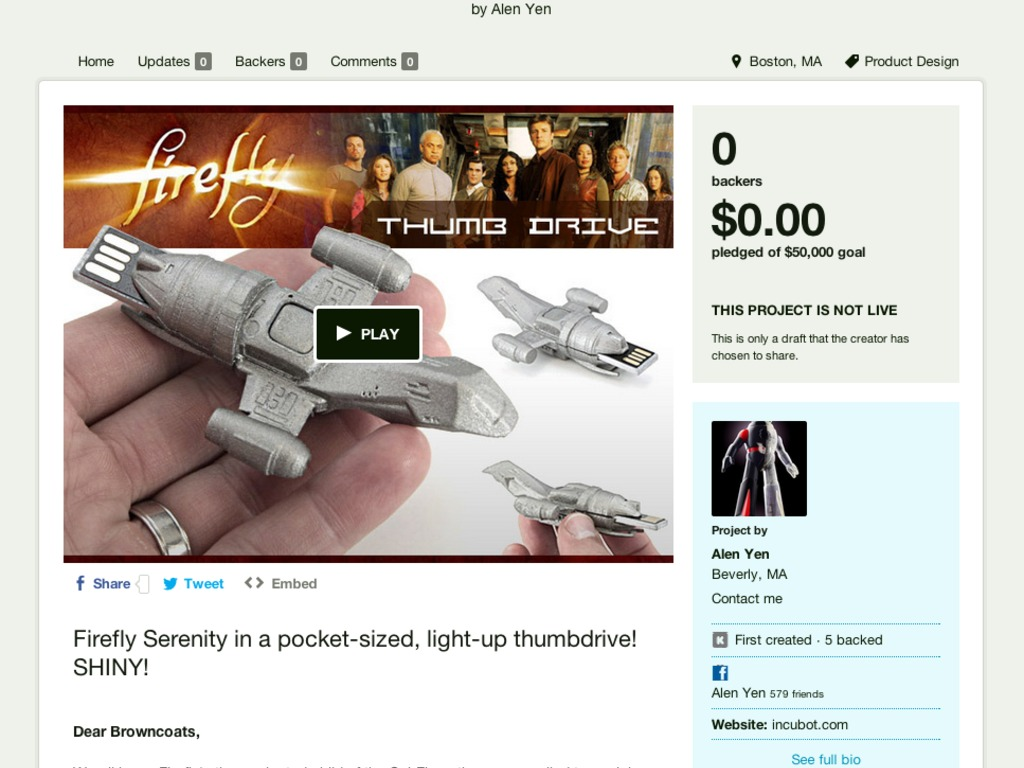 Firefly Serenity USB Flash Drive Sci Fi Collectible's video poster