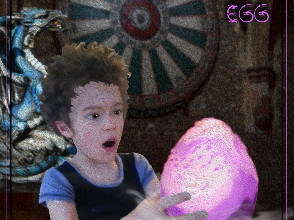 The Boy and his Purple Dragon Egg - based on Skylanders's video poster