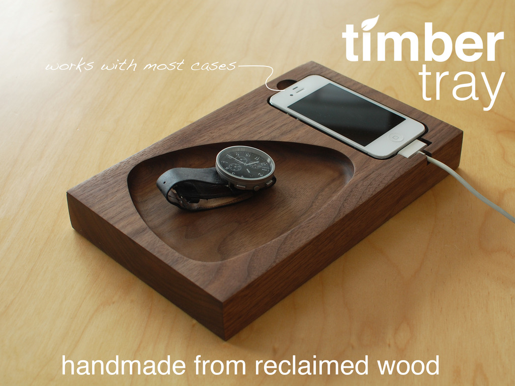 timber tray reclaimed wood modern docking station by ryan. Black Bedroom Furniture Sets. Home Design Ideas