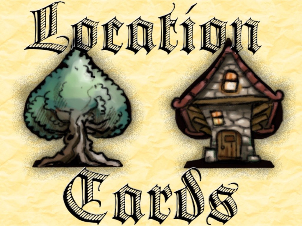 Location Cards - Playing Cards, each with a Fantasy Location's video poster