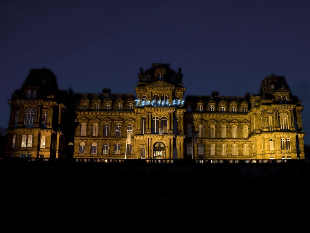 The Bowes Museum installs neon art on its French façade's video poster