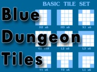 Blue Dungeon Tiles – Wet & Dry-Erase, Double-Sided Map Tiles