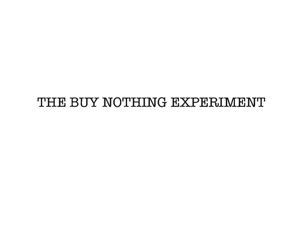 THE BUY NOTHING EXPERIMENT's video poster