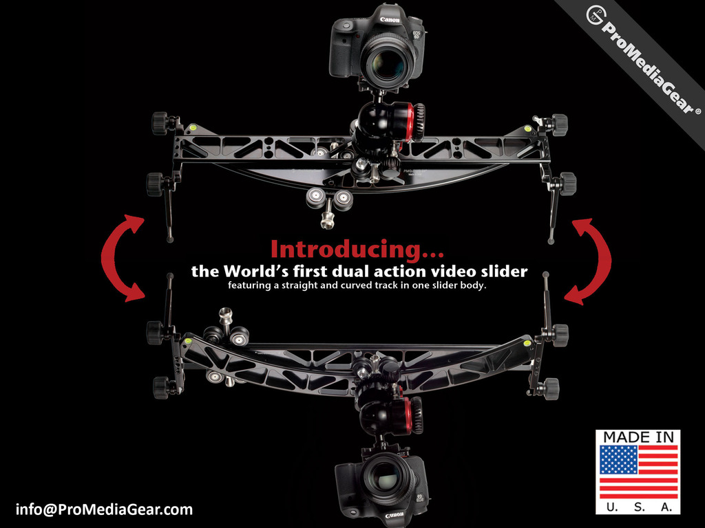ProMediaGear Curved & Straight Video Camera Slider in ONE's video poster