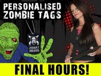 ENGRAVED ZOMBIE TAGS PERSONALISED WITH SERIAL & ANY NAME