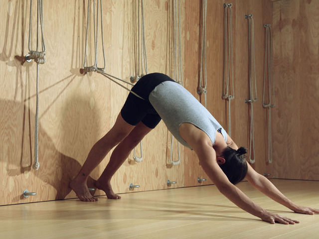 Iyengar rope wall for shambhala yoga dance center by for How to make a rope wall