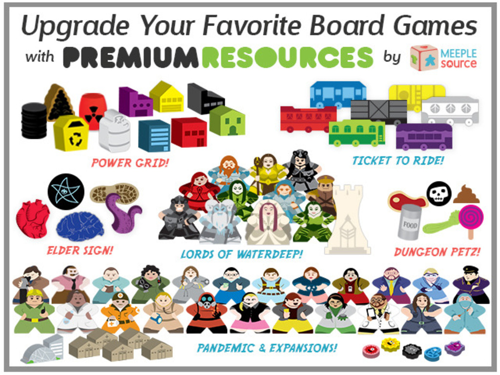 Resource & Character Meeple Upgrade Kits for Popular Games!