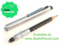 Bullet Pencil ST:  Aerospace wood pencil holder and stylus.