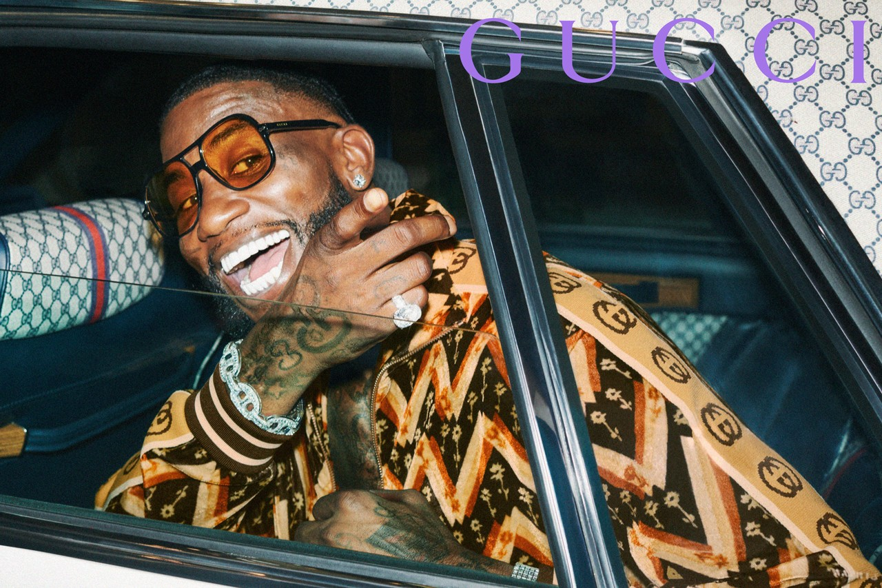 Gucci Mane in Gucci ad campaign, photographed by Harmony Korine.