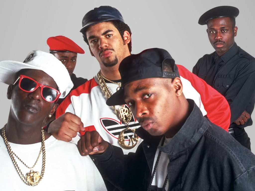 Public Enemy: [Left to right] Flava Flav, Terminator X, Chuck D, DJ Lord. get to the polls