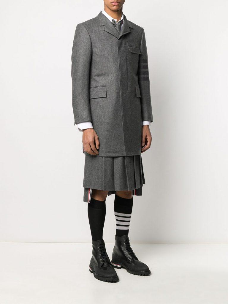Thom BrowneClassic Chesterfield Tonal 4-bar winter overcoat