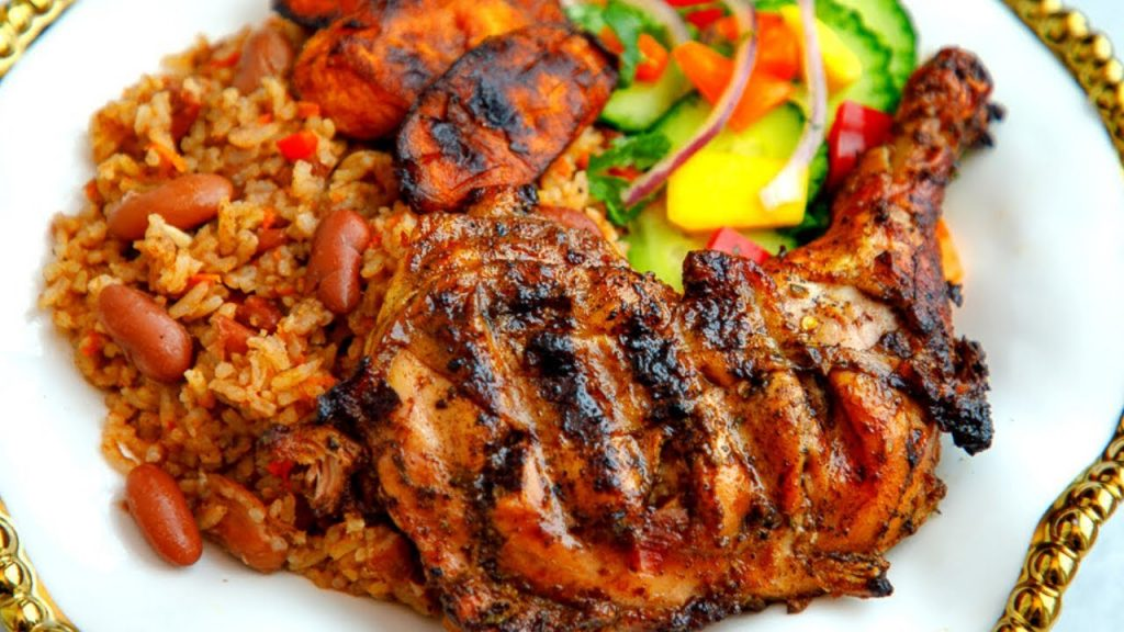 Jollof Rice with Plantain and Chicken
