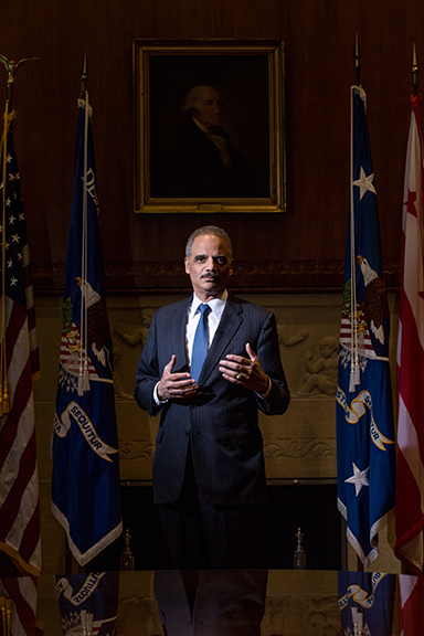MARCH 2, 2015: Eric Holder, Attorney General during Presidents Obama's term, taken at the Department Of Justice building in Washington, D.C. PHOTO: Cassell Ferere.