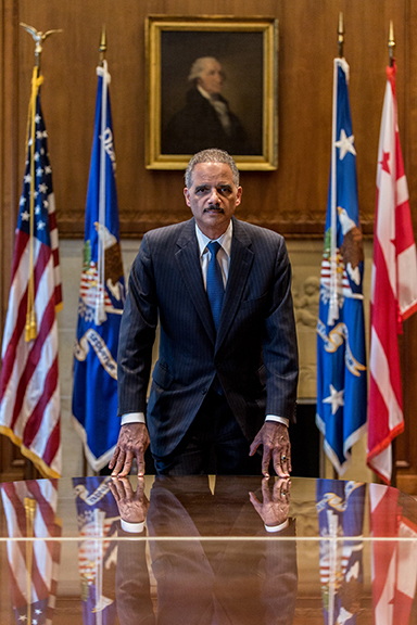 MARCH 2, 2015: Eric Holder, Attorney General during Presidents Obama's term, taken at the Department Of Justice building in Washington, D.C for Advocate magazine. PHOTO: Cassell Ferere.