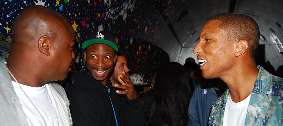 September 11, 2009: Jadakiss, Steven Victor, and Pharrell Williams at Billionair Boys Club flagship store on West Broadway, Soho, NY. PHOTO: Cassell Ferere.