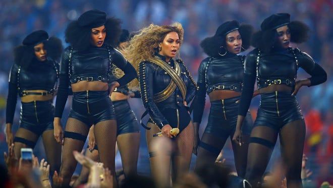 Beyonce at the 50th Super Bowl halftime show, Levei's Stadium, Santa Clara, California, 2016.