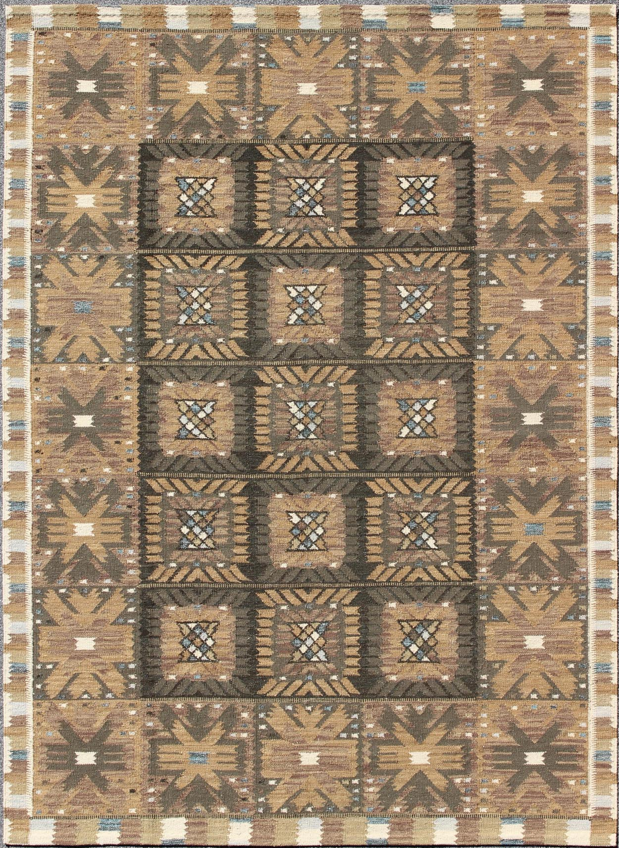 "Scandinavian Flat Weave Rug - RJK-20129-SHB-001-07 | Scandinavian Flat Weave - 8'4"" x 9'0"" 