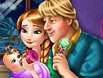 Anna and Kristoff Feeding Baby