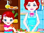 Baby Lulu Coking with Mom