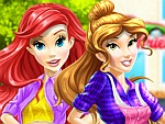 Belle and Ariel Car Wash Dress Up