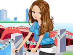 Hipster Girl Bike Dress Up