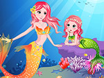 Pretty Little Mermaid and Her Mom Dress Up